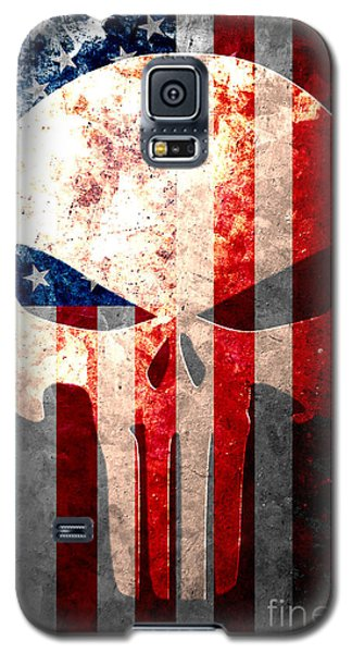 Punisher Themed Skull And American Flag On Distressed Metal Sheet Galaxy S5 Case