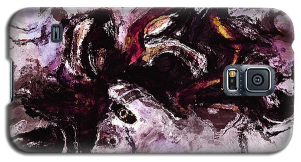 Galaxy S5 Case featuring the painting Purple Abstract Painting / Surrealist Art by Ayse Deniz