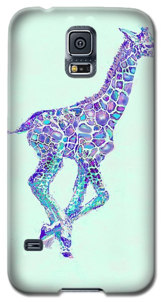 Purple And Aqua Running Baby Giraffe Galaxy S5 Case by Jane Schnetlage