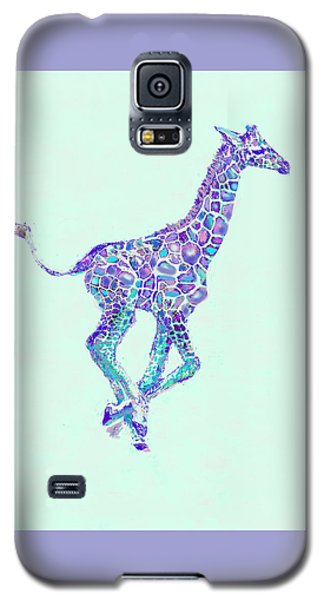 Purple And Aqua Running Baby Giraffe Galaxy S5 Case