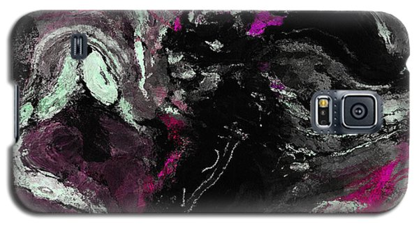 Galaxy S5 Case featuring the painting Purple And Black Minimalist / Abstract Painting by Ayse Deniz