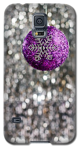 Galaxy S5 Case featuring the photograph Purple Christmas Bauble  by Ulrich Schade