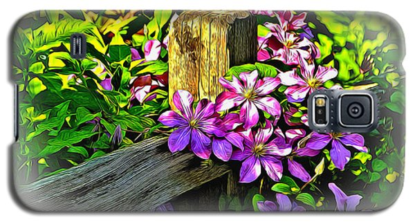Purple Clematis On Split Rail Fence Galaxy S5 Case by Dennis Lundell