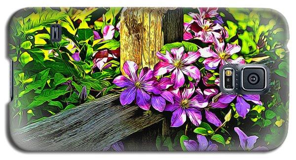 Purple Clematis On Split Rail Fence Galaxy S5 Case