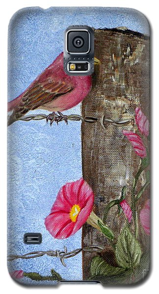 Purple Finch And Morning Glories Galaxy S5 Case by Terri Mills