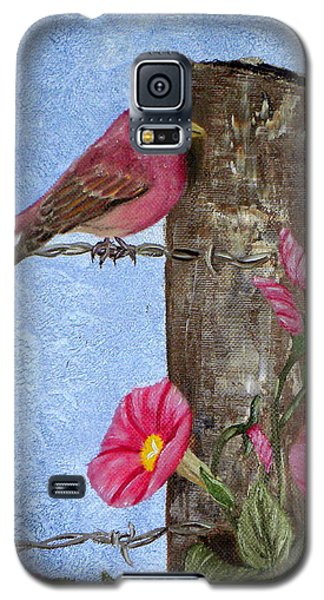Purple Finch And Morning Glories Galaxy S5 Case