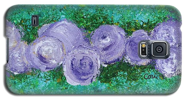 Galaxy S5 Case featuring the painting Purple Flowers by Corinne Carroll