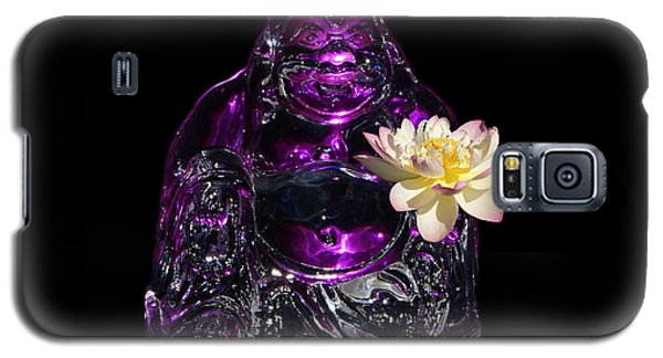 Purple Glass Buddah With Yellow Lotus Flower Galaxy S5 Case