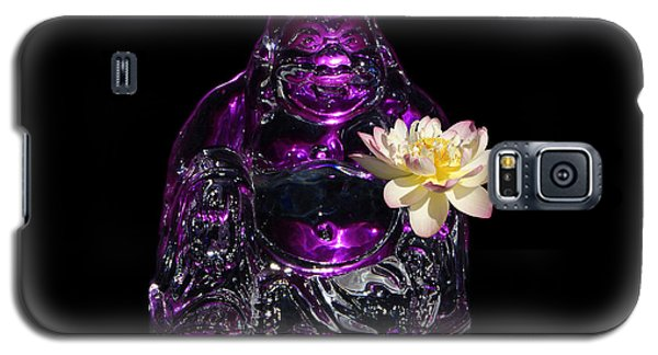 Galaxy S5 Case featuring the photograph Purple Glass Buddah With Yellow Lotus Flower by Gary Crockett