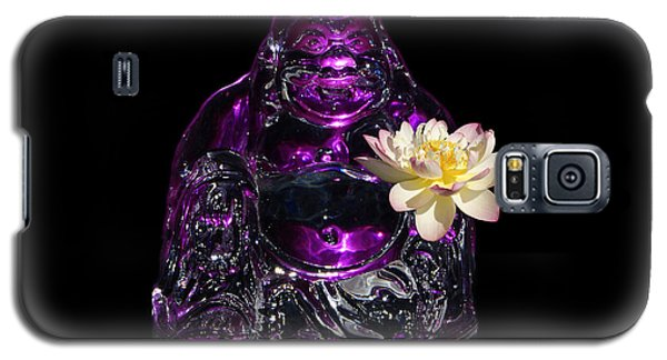 Purple Glass Buddah With Yellow Lotus Flower Galaxy S5 Case