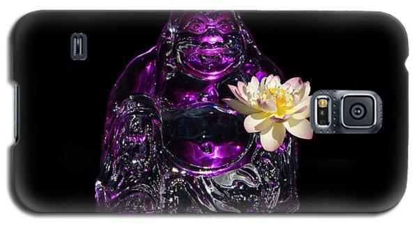 Purple Glass Buddah With Yellow Lotus Flower Galaxy S5 Case by Gary Crockett