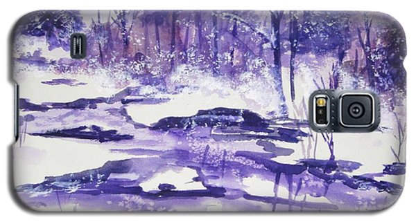 Galaxy S5 Case featuring the painting Purple Ice On Kaaterskill Creek by Ellen Levinson