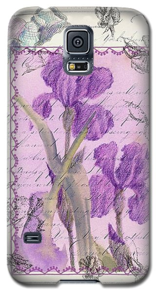 Galaxy S5 Case featuring the drawing Purple Iris by Cathie Richardson
