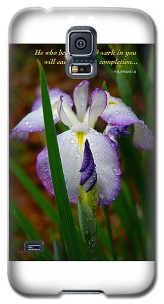 Purple Iris In Morning Dew Galaxy S5 Case by Marie Hicks