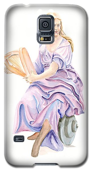 Galaxy S5 Case featuring the painting Purple Lady by Elizabeth Lock