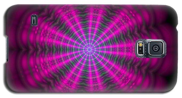 Galaxy S5 Case featuring the digital art Purple Lightmandala Ripples by Robert Thalmeier