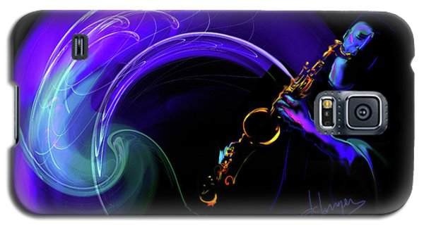 Galaxy S5 Case featuring the painting Purple Moon by DC Langer