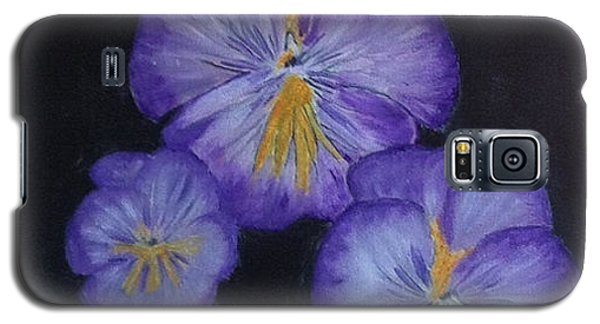 Galaxy S5 Case featuring the painting Purple Pansies by Rod Jellison