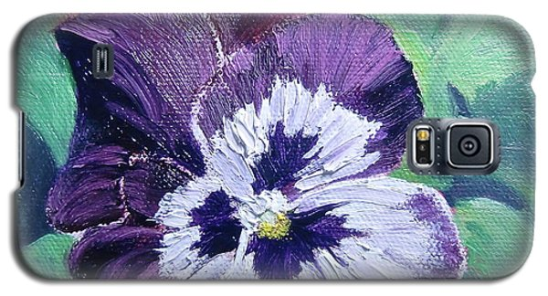 Galaxy S5 Case featuring the painting Purple Pansy by Bonnie Heather