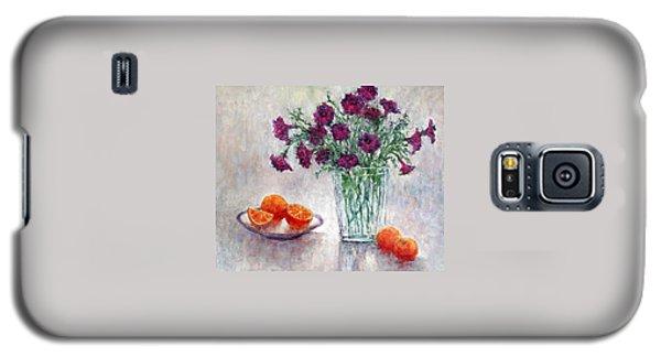 Purple Petunias And Oranges Galaxy S5 Case