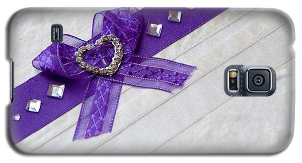 Purple Ribbon Heart Galaxy S5 Case