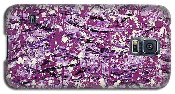 Galaxy S5 Case featuring the painting Purple Splatter by Thomas Blood
