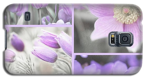 Galaxy S5 Case featuring the photograph Purple Spring Bloom Collage. Shabby Chic Collection by Jenny Rainbow