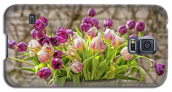 Galaxy S5 Case featuring the photograph Purple Tulips In A Bucket by Patricia Hofmeester