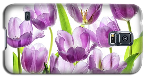 Galaxy S5 Case featuring the photograph Purple Tulips by Rebecca Cozart