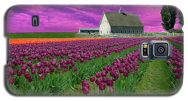 Purple Tulips With Pink Sky Galaxy S5 Case by Jeff Burgess