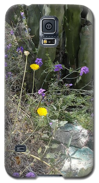 Purple Yellow Flowers Green Cactus Galaxy S5 Case