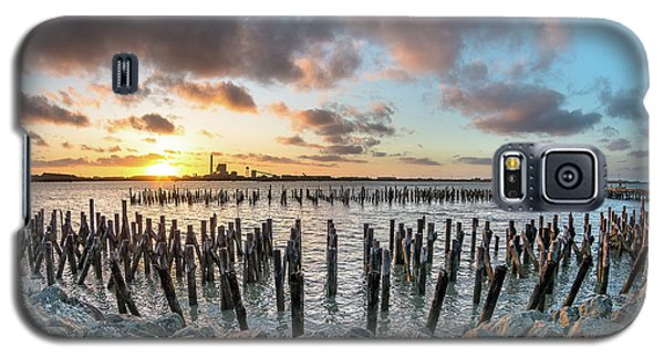 Galaxy S5 Case featuring the photograph Pylons Mill Sunset by Greg Nyquist