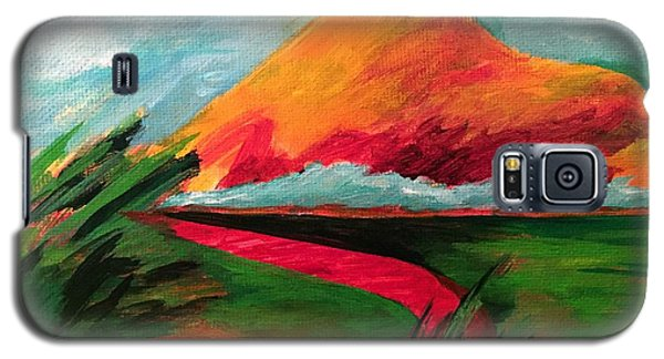 Galaxy S5 Case featuring the painting Pyramid Mountain by Elizabeth Fontaine-Barr