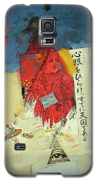 Galaxy S5 Case featuring the mixed media Queen Of Hearts 40-52 by Cliff Spohn