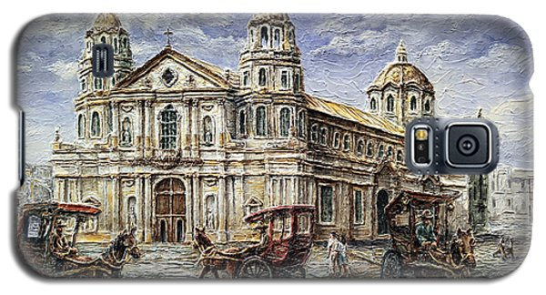 Galaxy S5 Case featuring the painting Quiapo Church 1900s by Joey Agbayani