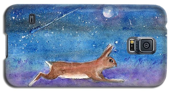Galaxy S5 Case featuring the painting Rabbit Crossing The Galaxy by Doris Blessington