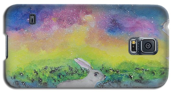 Galaxy S5 Case featuring the painting Rabbit In Galaxy 5 by Doris Blessington