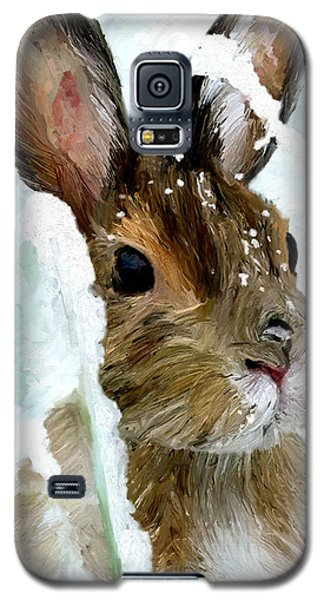 Galaxy S5 Case featuring the painting Rabbit In Snow by James Shepherd