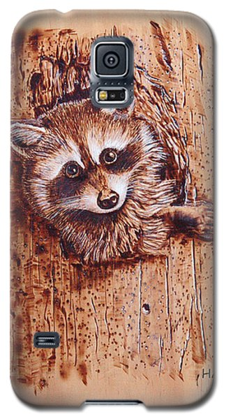 Galaxy S5 Case featuring the pyrography Raccoon by Ron Haist