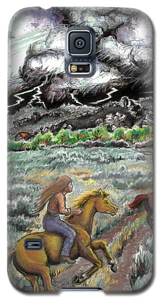 Galaxy S5 Case featuring the drawing Racing The Lightning Home by Dawn Senior-Trask