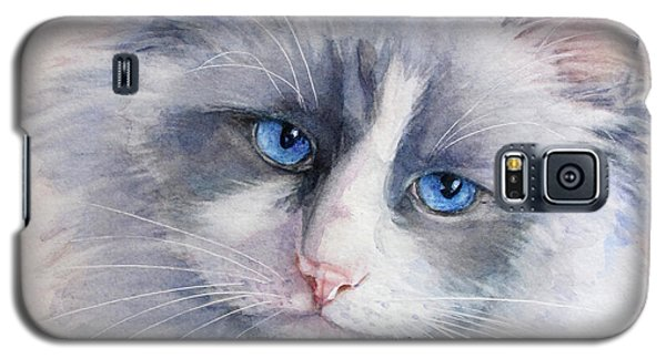 Galaxy S5 Case featuring the painting Ragdoll Cat by Bonnie Rinier