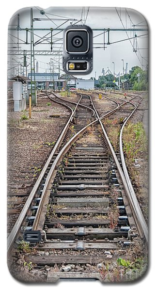 Galaxy S5 Case featuring the photograph Railroad Tracks And Junctions by Antony McAulay