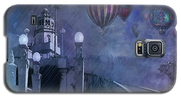 Galaxy S5 Case featuring the digital art Rain And Balloons At Hearst Castle by Jeff Burgess