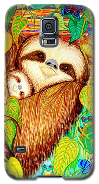 Rain Forest Survival Mother And Baby Three Toed Sloth Galaxy S5 Case