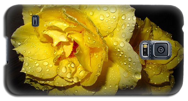 Galaxy S5 Case featuring the photograph Rain Soaked Yellow Rose by Joyce Dickens