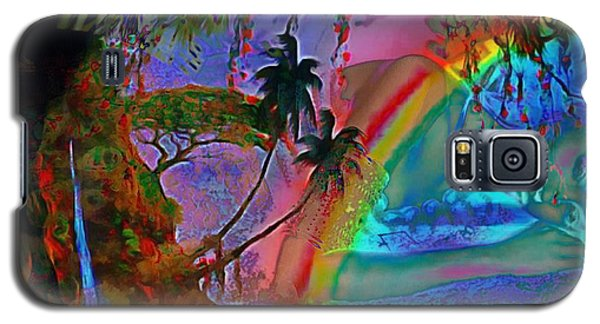 Galaxy S5 Case featuring the painting Rainboow Drenched In Layers by Catherine Lott