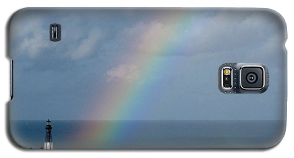 Galaxy S5 Case featuring the photograph Rainbow At Hillsboro Lighthouse by Corinne Carroll