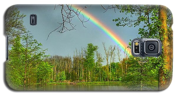 Galaxy S5 Case featuring the photograph Rainbow At The Lake by Sumoflam Photography
