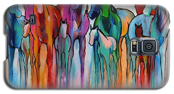 Galaxy S5 Case featuring the painting Rainbow Horses by Cher Devereaux
