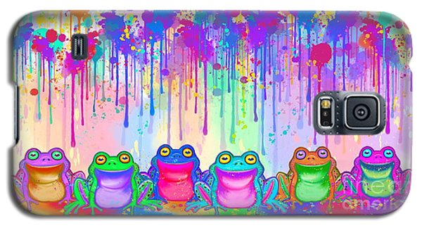 Galaxy S5 Case featuring the painting Rainbow Of Painted Frogs by Nick Gustafson